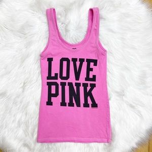 PINK Victorias Secret Tank Top Spell Out Logo XS